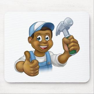Cartoon Black Carpenter Character Mouse Pad