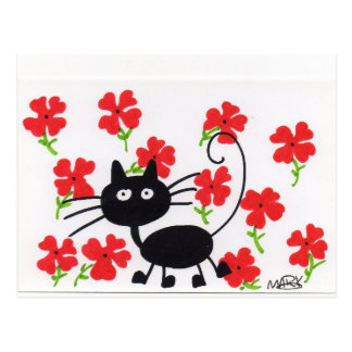 Cartoon Black Cat and red flowers Postcard