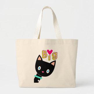 "Cartoon black cat showing ""Big Love"". Large Tote Bag"