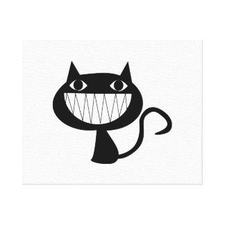 Cartoon Black Cat Smiling Canvas Print