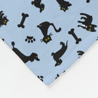 Cartoon Black Cats and Dogs Fleece Blanket Custom