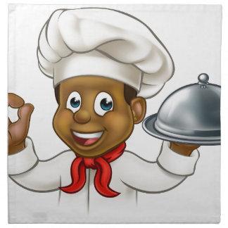 Cartoon Black Chef Holding Plate or Platter Napkin