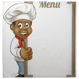 Cartoon Black Chef Menu Napkin
