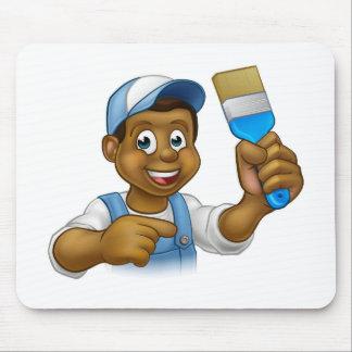 Cartoon Black Painter Decorator Mouse Pad