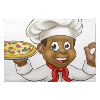 Cartoon Black Pizza Chef Placemat