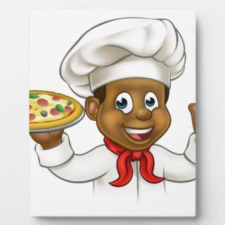 Cartoon Black Pizza Chef Plaque