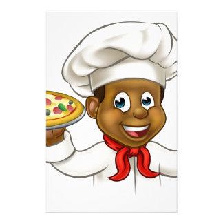 Cartoon Black Pizza Chef Stationery