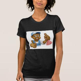 Cartoon Black Plumber Handyman Holding Punger T-Shirt