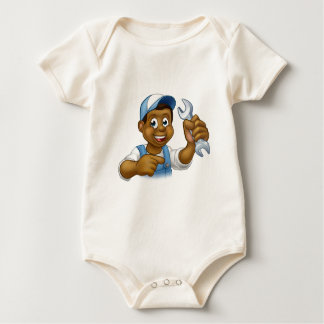 Cartoon Black Plumber Mechanic or Handyman Baby Bodysuit