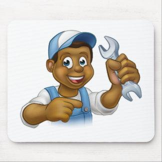Cartoon Black Plumber Mechanic or Handyman Mouse Pad