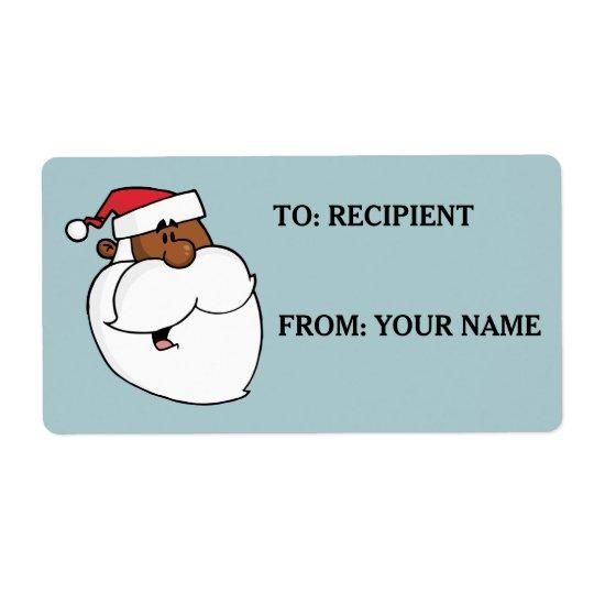Cartoon Black Santa Claus Printed Label