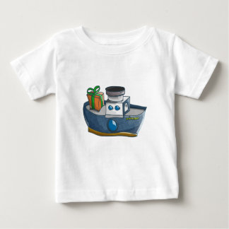 Cartoon blue and white cargo steamship baby T-Shirt