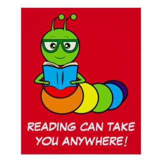 Cartoon Bookworm with Book and Glasses Poster