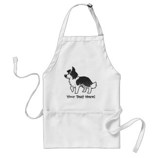 Cartoon Border Collie Standard Apron