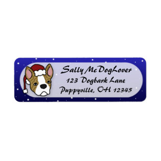 Cartoon Boston Terrier Christmas Return Address Label