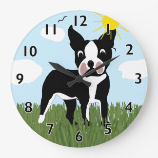 Cartoon Boston Terrier Clock