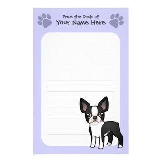 Cartoon Boston Terrier Stationery