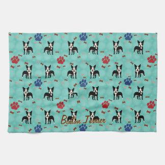 Cartoon Boston Terrier Tea Towel