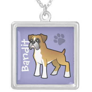 Cartoon Boxer (add your pets name) Square Pendant Necklace
