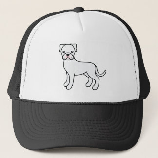 Cartoon Boxer Dog In White Coat Trucker Hat
