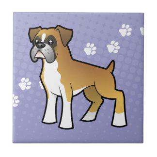 Cartoon Boxer Small Square Tile