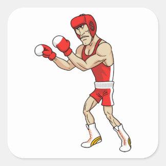 cartoon boxer square sticker