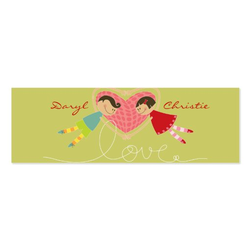 Cartoon Boy and Girl in Love Gift Tag / Thank You Business Card