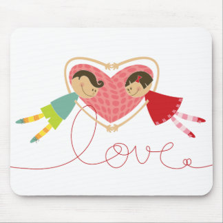 Cartoon Boy and Girl in Love Valentine Mousepad