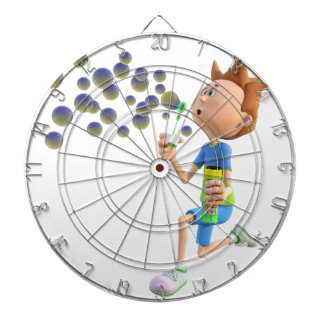 Cartoon boy blowing bubbles dartboard