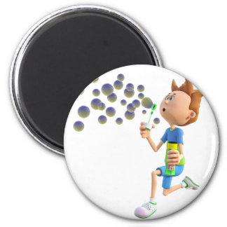Cartoon boy blowing bubbles magnet