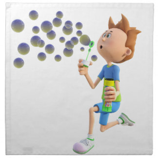 Cartoon boy blowing bubbles napkin