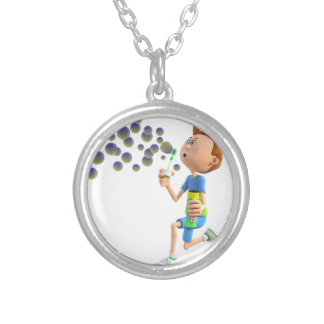 Cartoon boy blowing bubbles silver plated necklace