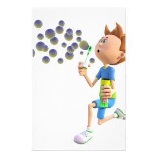 Cartoon boy blowing bubbles stationery