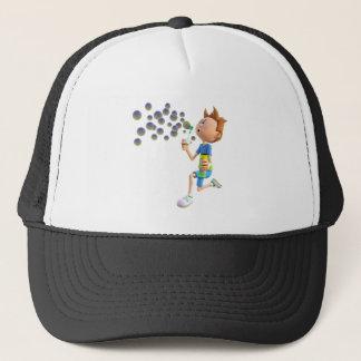 Cartoon boy blowing bubbles trucker hat