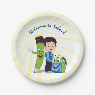 Cartoon Boy Goes to School 7 Inch Paper Plate