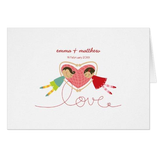 Cartoon Boy Hearts Girl Valentine Thank You Card