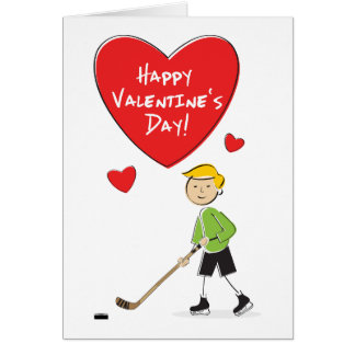 Cartoon Boy Hockey Valentines Card