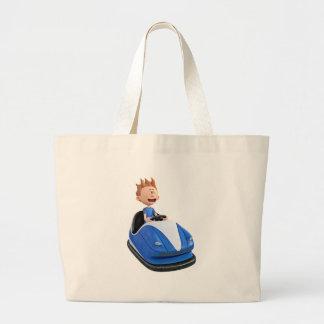 Cartoon boy in a bumper car jumbo tote bag
