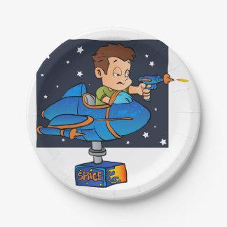 Cartoon Boy in imaginary Rocket 7 Inch Paper Plate