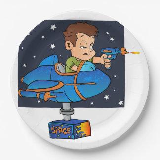Cartoon Boy in imaginary Rocket 9 Inch Paper Plate