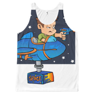 Cartoon Boy in imaginary Rocket All-Over Print Tank Top