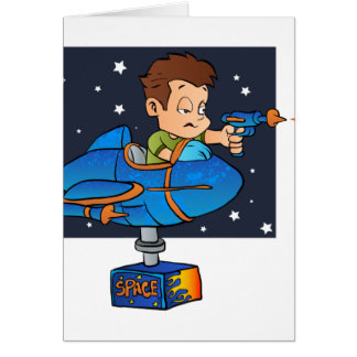 Cartoon Boy in imaginary Rocket Card