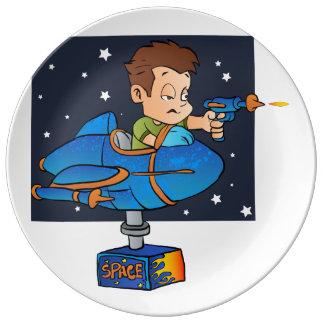 Cartoon Boy in imaginary Rocket Porcelain Plate