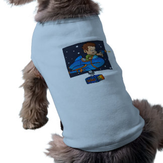 Cartoon Boy in imaginary Rocket Sleeveless Dog Shirt