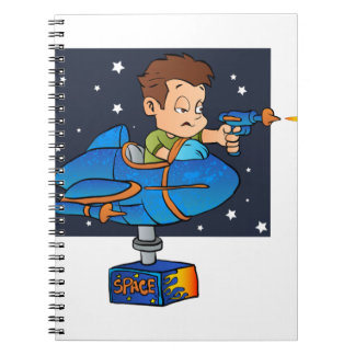 Cartoon Boy in imaginary Rocket Spiral Notebooks