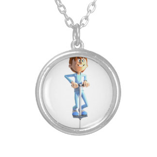 Cartoon Boy on a Pogo Stick Silver Plated Necklace