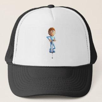 Cartoon Boy on a Pogo Stick Trucker Hat