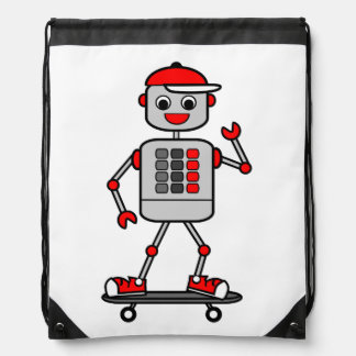 Cartoon Boy Robot on Skateboard Backpack
