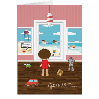 Cartoon Boy Standing at Door Watching Friends Play Greeting Cards