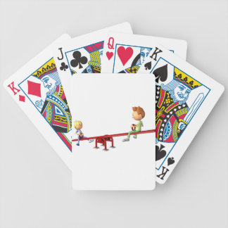 Cartoon Boys having fun on a See Saw Bicycle Playing Cards